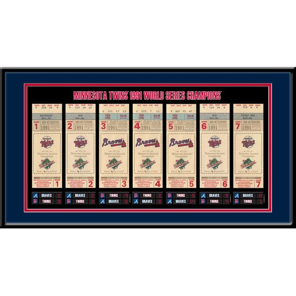 "Minnesota Twins 22"" x 12"" 1991 World Series Tickets To History Framed Print - $49.99"