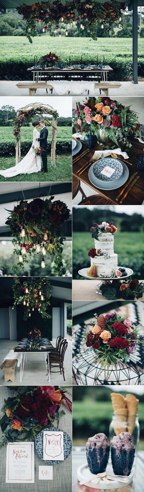 Moody industrial deep red and dark navy wedding ideas / http://www.deerpearlflowers.com/industrial-wedding-theme-ideas/2/