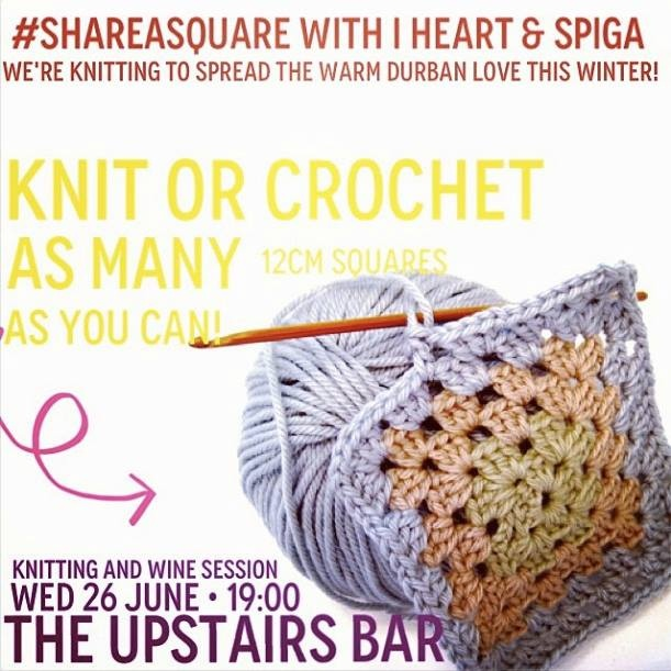 #shareasquare...we're hooking up a knitting and wine session! And crocheting/knitting squares to make awesome one of a kind blankets for the underprivileged this winter!