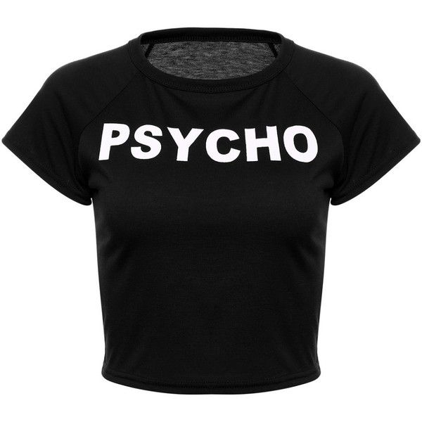 Psycho Cropped Tee Shirt Shop Elettra ($13) ❤ liked on Polyvore featuring tops, t-shirts, cut-out crop tops, red t shirt, red top, red tee and red crop top