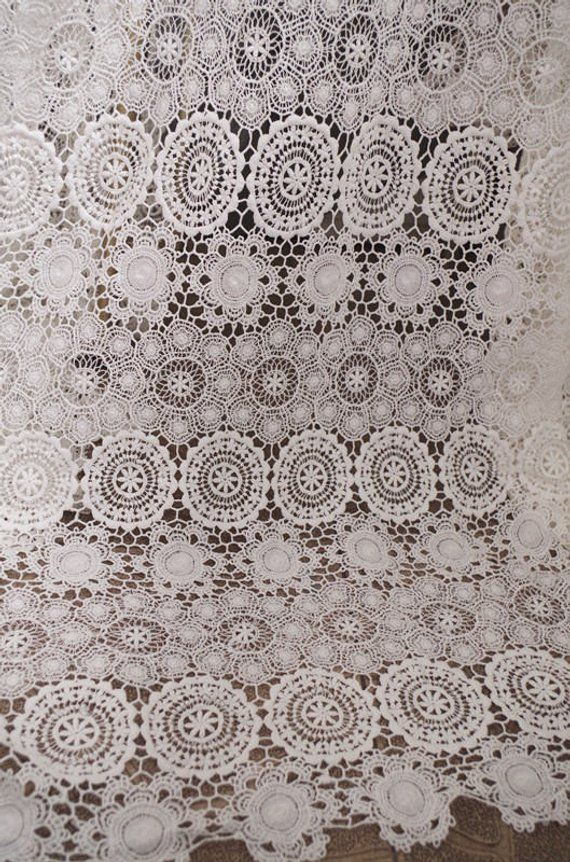 Allover Retro French Venice Lace Fabric Choose Color High Quality Allover Floral Venise Lace Fabric Scalloped Borders