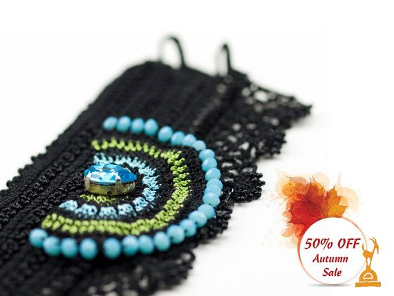 Bracelet-Handmade Crochet Beadwork Luxury Statement Bracelet, Bohemian Bracelet Cuff, Ethnic Bracelet,Fiber Jewelry, Beadwork Bracelet  ALL Pinara Design jewelries are INCREDIBLY lightweight!! You wont even know youre wearing them (except youll look AMAZING)!!!!  For all my designs, I use an ancient Anatolian lace technique that dates back thousands of years and use very slim high quality embroidery thread. Every mm is original and handmade by me, no machine are involved. It's just me and my…