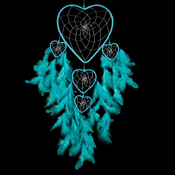 """Dream Catcher - Handmade Heart Shape Aqua & Silver 8.5"""" Diameter & 24"""" long. The Native American dream catcher is believed to have the power to catch all of a person's dreams, trapping the bad ones. Shop our entire gift collection of handmade dream catchers http://www.amazon.com/Dream-Catcher-Handmade-Silver-Diameter/dp/B00I6Z96QU/ref=sr_1_34?m=A2NNK9JTBO5J9L&s=merchant-items&ie=UTF8&qid=1428555884&sr=1-34"""