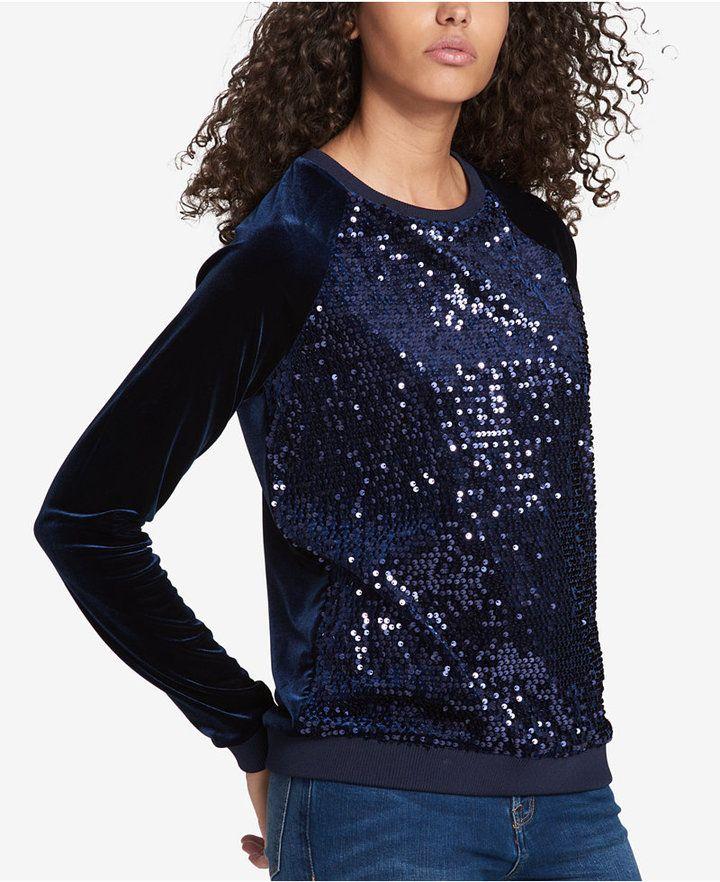 Tommy Hilfiger Sequin Velvet Sweatshirt, Created for Macy's