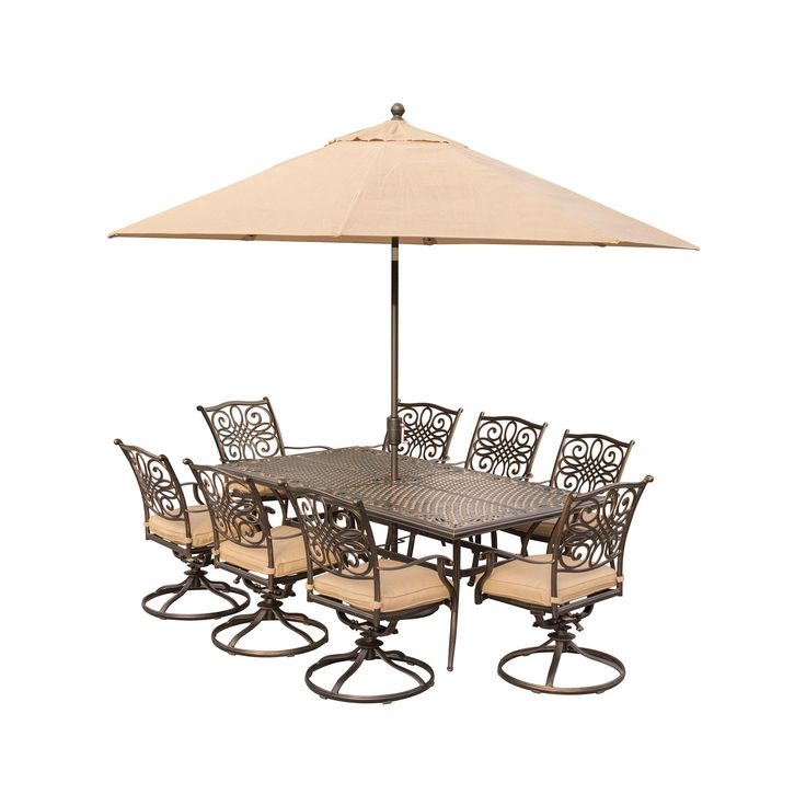 Traditions 9 Pc Dining Set Eight Swivel Dining Chairs, An Xl Dining Table, 11' Table Umbrella And Stand - Tan - Hanover