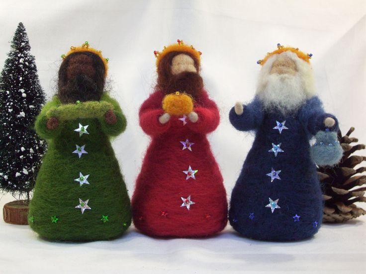 Three Kings - needle felted OOAK- wise men - epiphany - waldorf inspired - nativity - gold frankincense myrrh. $80.00, via Etsy.