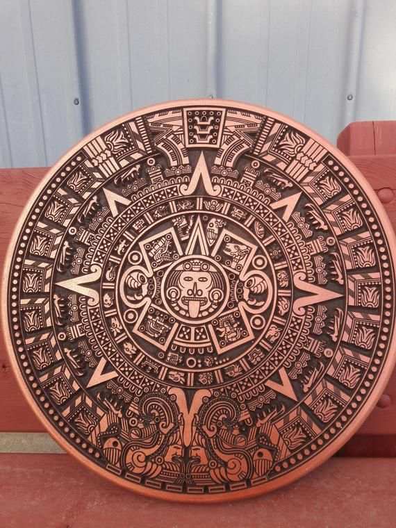 20 Inch Aztec Mayan Calendar Gold Mine Metallic Color Dark Stain