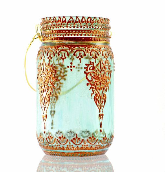 Boho Hanging Lantern, Brilliant Light Aqua Mason Jar Candle Holder with Moroccan Styled Copper Detailing  This unique lantern takes the mason jar to a