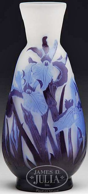 IMAGE: Galle Cameo vase having purple cameo leaves and light blue cameo iris…