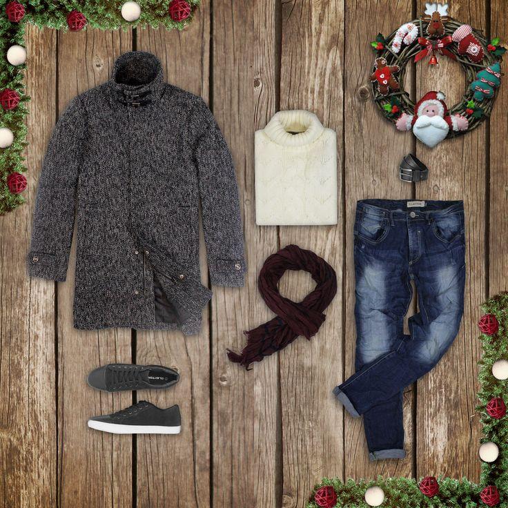 Cappotto stile tweed, denim e maglia a collo alto con lavorazione a trecce. www.claytonitalia.it