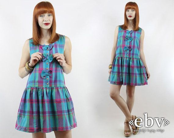 #Vintage #90s Blue #Plaid Babydoll #Bows Mini #Dress, fits S/M by #shopEBV http://etsy.me/1pyWWpb via @Etsy #etsy #summer #softgrunge