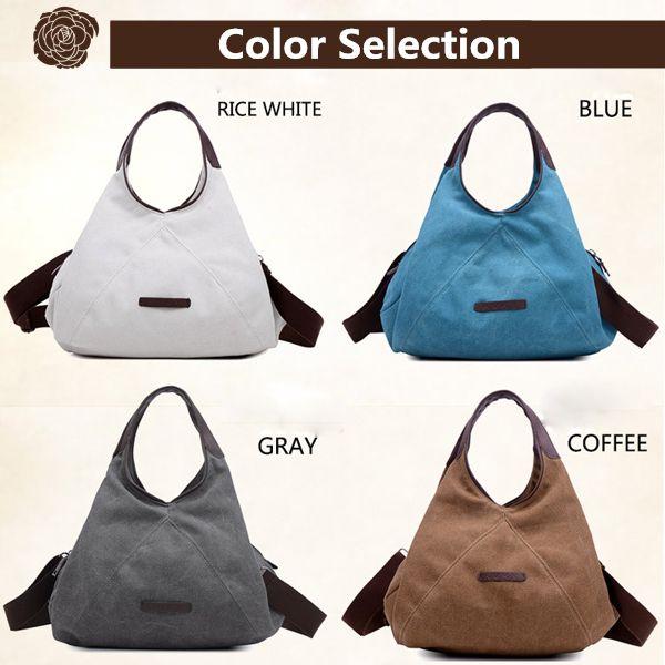 Women Canvas Portable Tote Handbags Casual Shoulder Bags Capacity Crossbody Bags