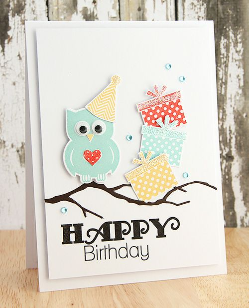 limedoodle, Clearly Besotted Stamps, owl, birthday, card
