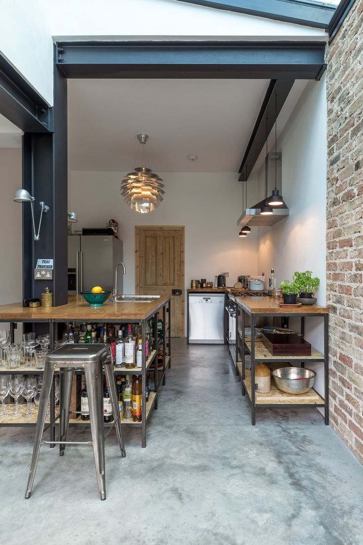 Exposed Steel Structure | Residential Renovation | Rustic Kitchen | Concrete  Floor |