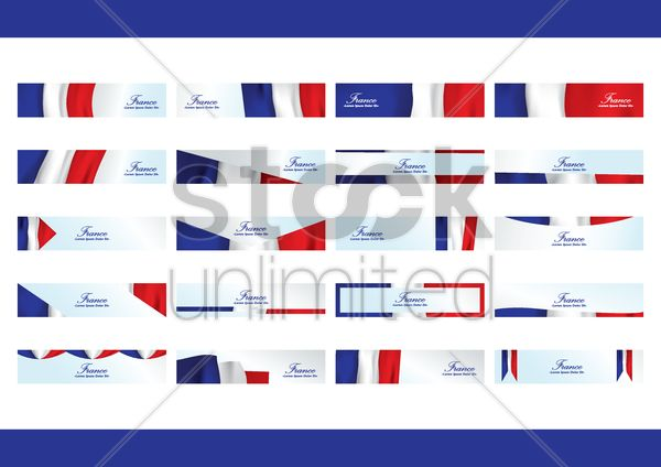 collection of france banners Stock Vector