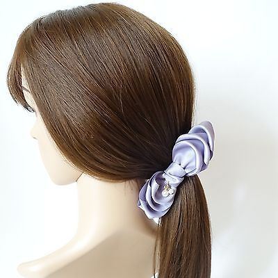 Handmade Glossy Satin Ribbon Bow Fabric Flower Banana Hair Clip  Accessories