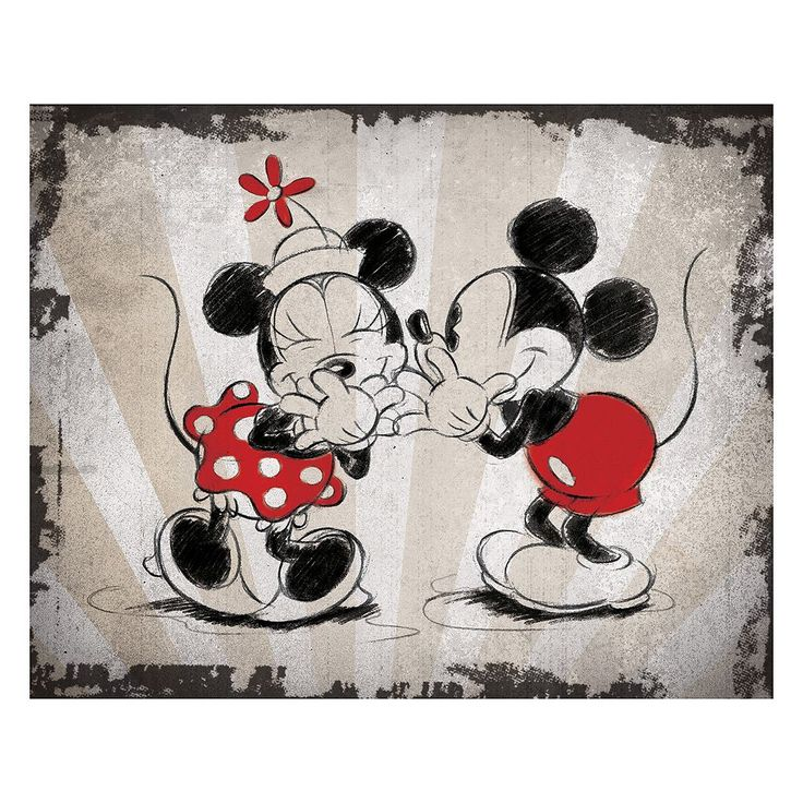 Disney's Mickey Mouse & Minnie Mouse Laughing Canvas Wall Art, Multicolor