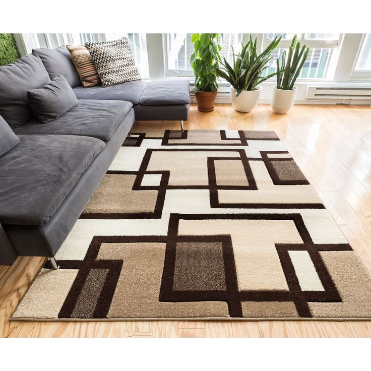 Well Woven Imagine Squares Modern / Brown Soft Plush Area Rug