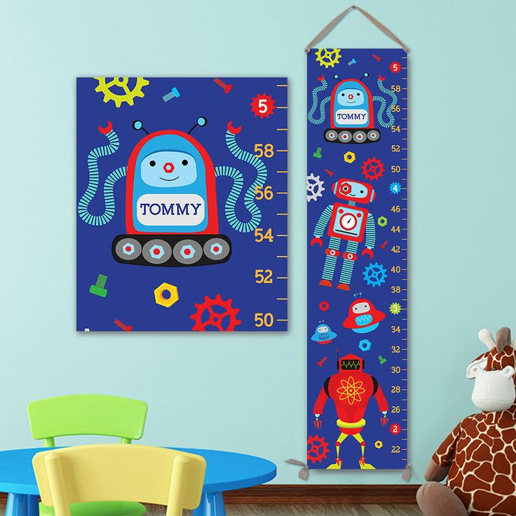 Robots Growth Chart - Personalized Growth Chart, Boy Growth Chart, Robots Wall Art, Robots Decal, Robots Nursery, Robots Kids Art - GC4672S by JoliePrints on Etsy
