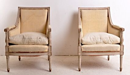 #43-33 Pair of antique Swedish bergères with fully-rounded columns and loose seat cushions. EdithGilson@cupboardsandroses.com