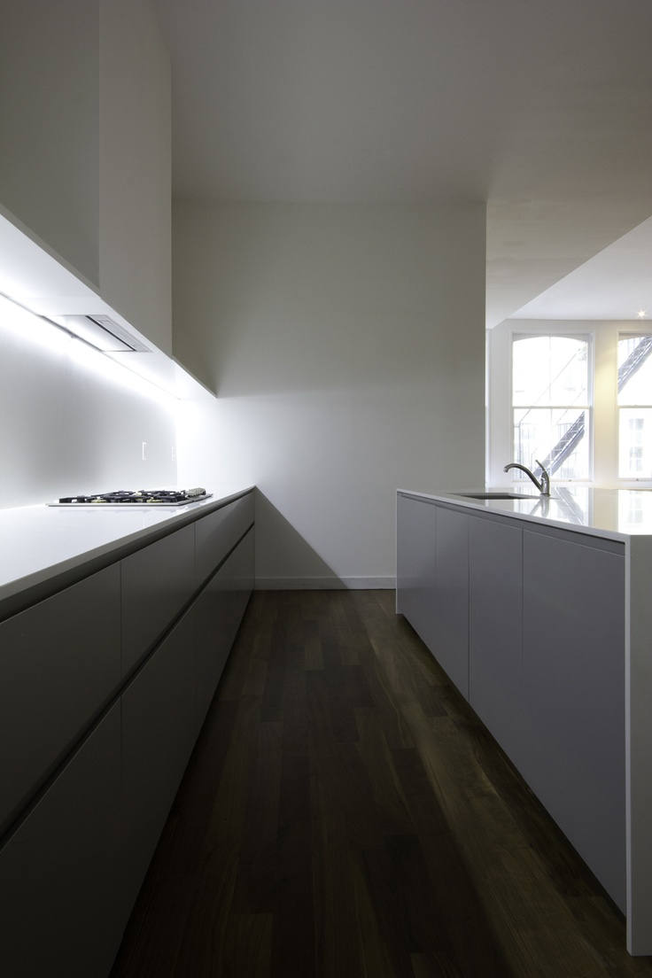 I know these floors are a lot darker than ours, but I like the shade of gray of the cabinets.