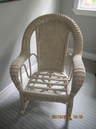 This Wicker Rocker works well inside or outside the house as relaxation and/or conversation.