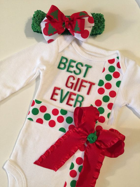 NEWBORN Christmas outfit Christmas onesie by MelleeAndMeBows