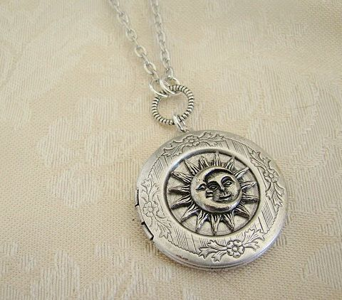 Silver Moon Face Sun Moon Star Locket  Wedding Necklace Fantasy Daughters Wife Friend Photo Pictures - Eliana