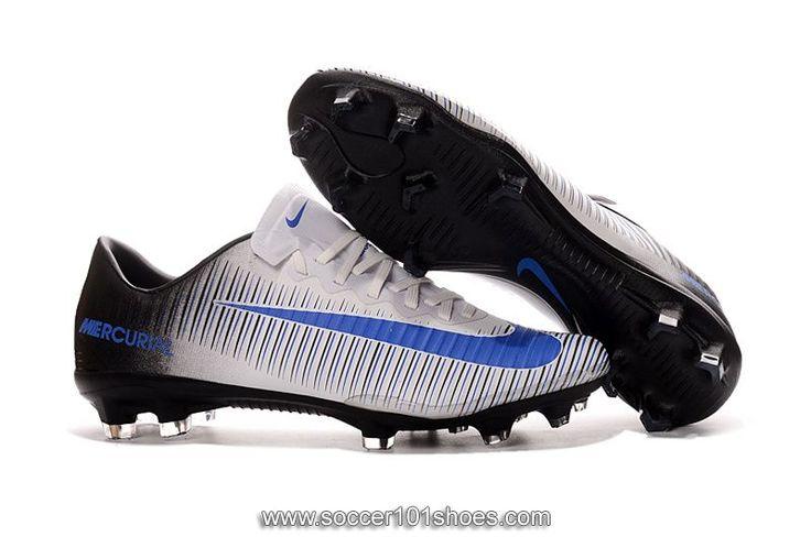 Nike Men's Mercurial Vapor XI FG Football Shoe Soccer Cleats White Black Blue  $75.00