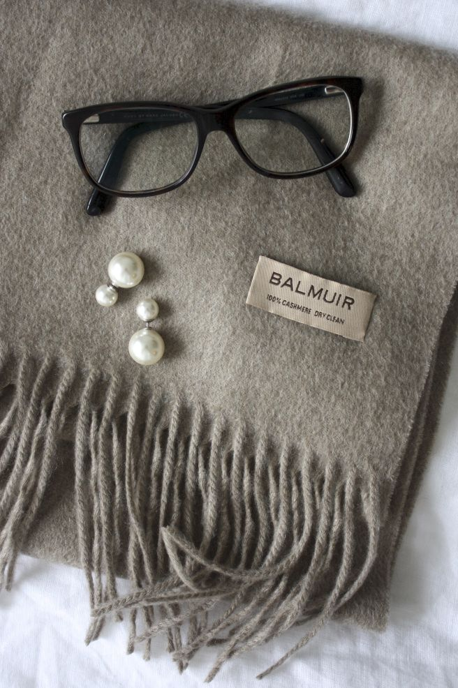 Homevialaura | Balmuir Highland cashmere scarf in sand | Mise en Dior style earrings | double pearls | eyeglasses