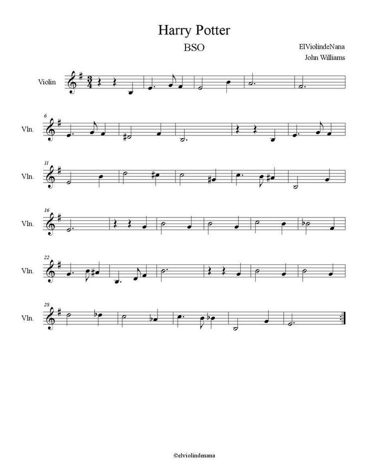 """La Partitura y Notas de """"Harry Potter"""" para Violín                                                                                                                                                                                 Mais"""
