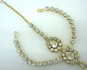 White Cz Gold Tone Matha Patti Hair Accessory Bollywood Bridal Jewelry Eid Gift | eBay
