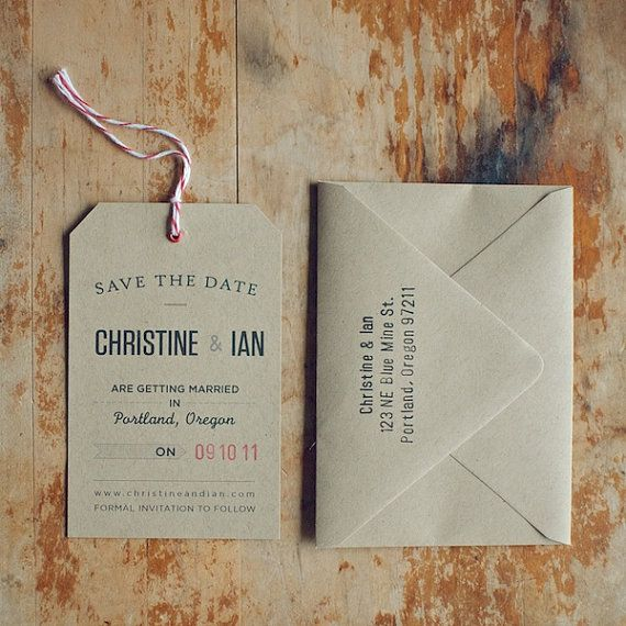 Rustic Kraft Save the Date Tag with Eyelet Twine by woodandgrain, $3.50