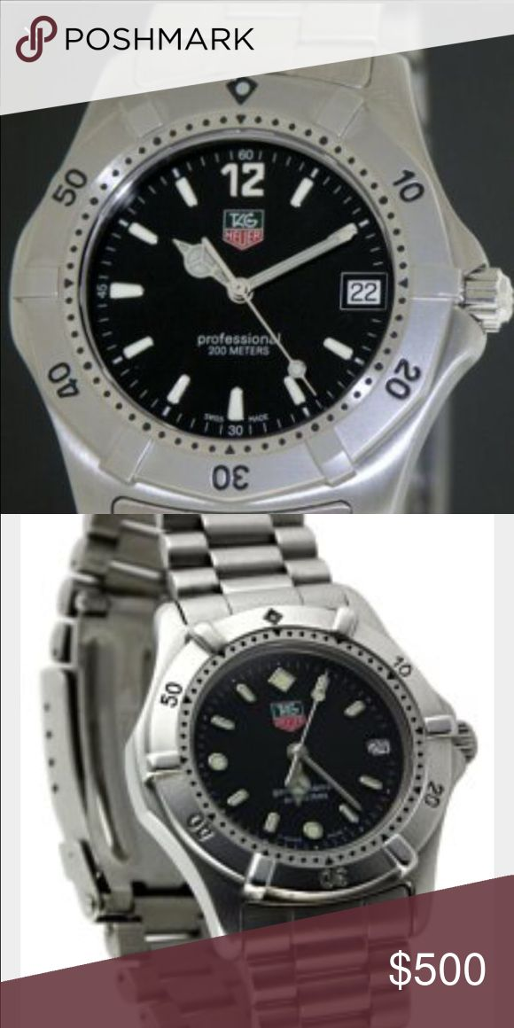 Tag Heuer Mens Professional 2000 Classic Watch Mens stainless steel 37 mm Tag Heuer Professional 200 M watch with sapphire crystal, unidirectional rotating bezel, black flat dial, luminous Arabic numerals and stick hour markers, caliber aperture. Mint condition, like new Tag Heuer Accessories Watches