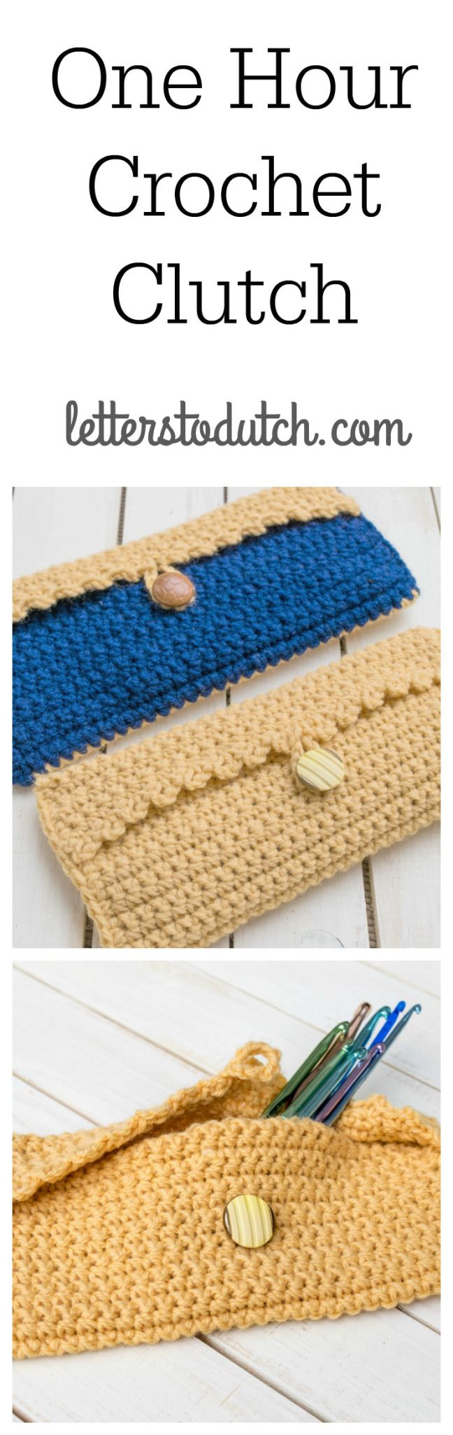 I love this crochet clutch! It can be worked up in just one hour, and would make a cute gift for a friend (or for yourself too!). #crochetclutch #easycrochet #freecrochetpattern