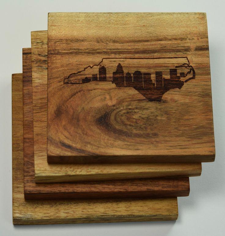 Charlotte North Carolina Skyline within State Outline Coasters