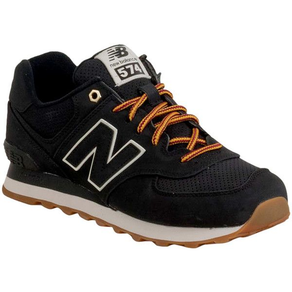 New Balance Men's 574 Outdoor Athletic Sneaker ($80) ❤ liked on Polyvore featuring men's fashion, men's shoes, men's sneakers, black, mens black suede shoes, new balance mens sneakers, mens suede sneakers, mens shoes and men's low top shoes