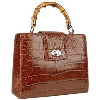 Brown Croco-embossed Leather Compact Tote Bag -  Brown Croco-embossed Leather Compact Tote Bag Buti Elegance with a trendy twista perfect combination between croco-embossed leather and a trendy bamboo handle. This handbag by Buti is made in top quality Italian leather and opens to reveal a suede lined compartment that will hold all...