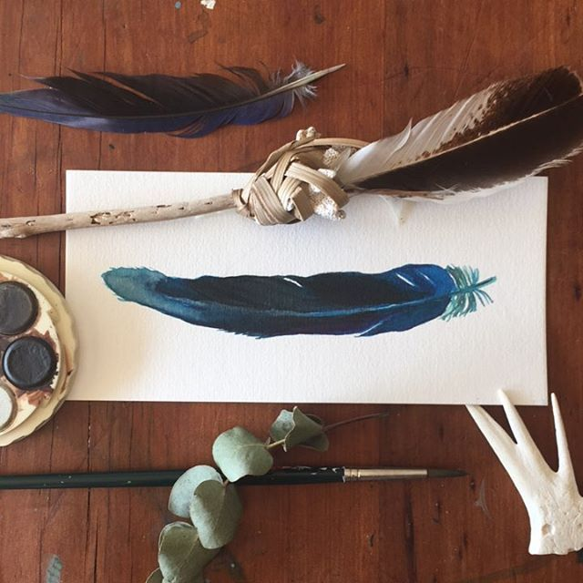 Watercolour Feather painting using Micador paints by Andrea Haman of Strongsoutherly Art