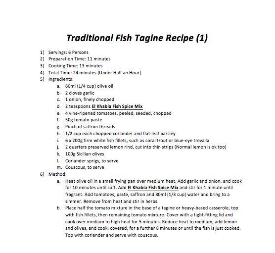 Traditional Fish Tagine Recipe 1)