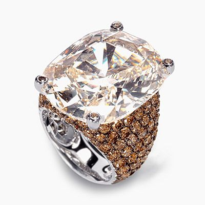 de Grisogono staggering 25 carat brown-orange diamond set with pave brown diamonds in 18k white gold.