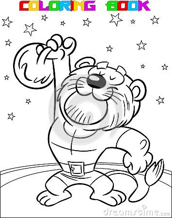 The illustration shows a powerful lion in the circus. He lifts weights. Illustration made a black outline for coloring, on separate layers.