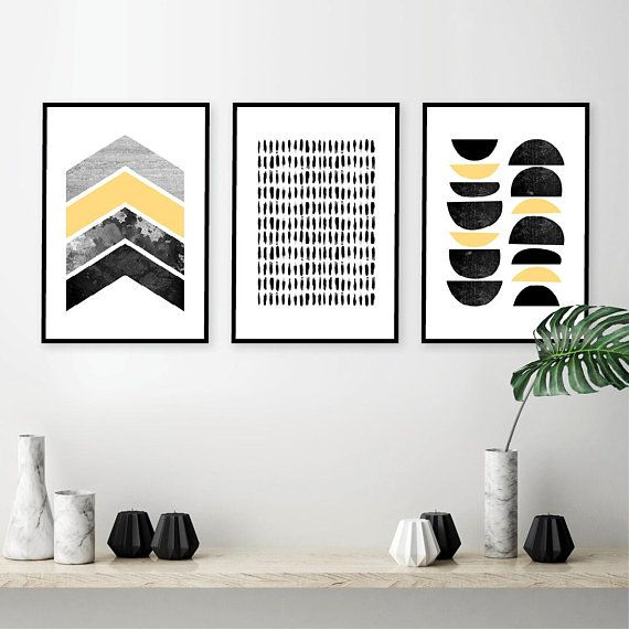 Downloadable Set Of 3 Scandi Prints Black White Yellow Grey Minimalist Printable Poster Scandinavian Modern Wall Art Nordic Digital Download Printable Art Set Printable Poster Scandinavian Prints