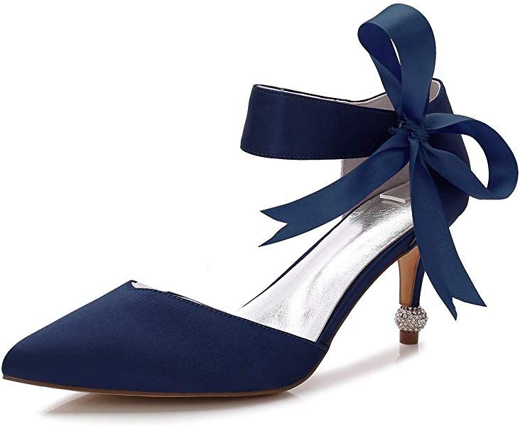 e4213be8cf479 Amazon.com | Elobaby Women Wedding Shoes Toe Low High Heels Pointed ...