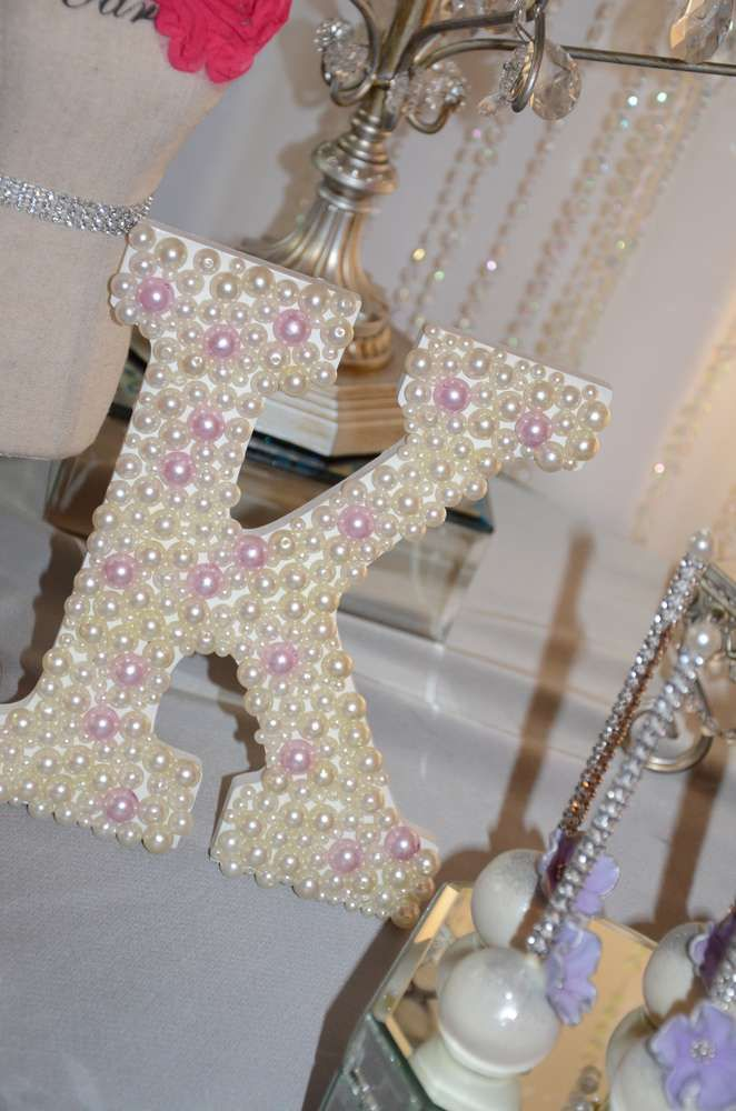 Pretty decorated letter at a Baby Shower Party!  See more party planning ideas at CatchMyParty.com!