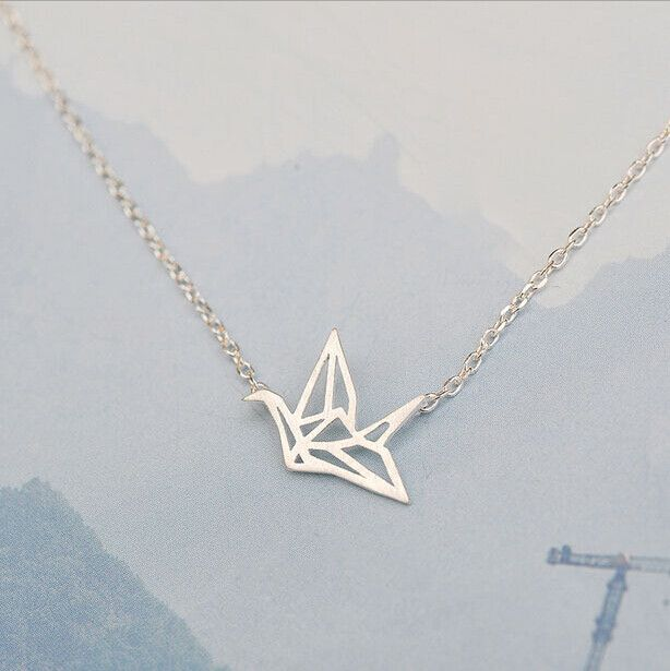 Sterling Silver Origami Cranes Necklace