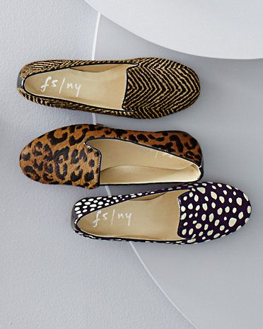 Smoking slippers are back on many wish lists this season. French Sole gives them a most coveted makeover with calf-hair animal prints and — exclusive to us — a chic pattern. All-day comfort.
