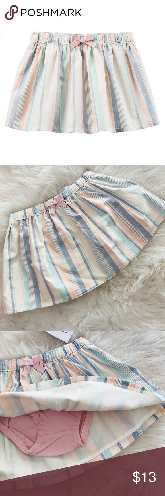 NWT Carter's striped poplin skirt Flouncy and pretty with an elastic waistband and tacked bow. NWT !  Skirt: 100% cotton poplin Lining: 100% cotton lawn Attached panty: 100% cotton jersey Carter's Bottoms Skirts