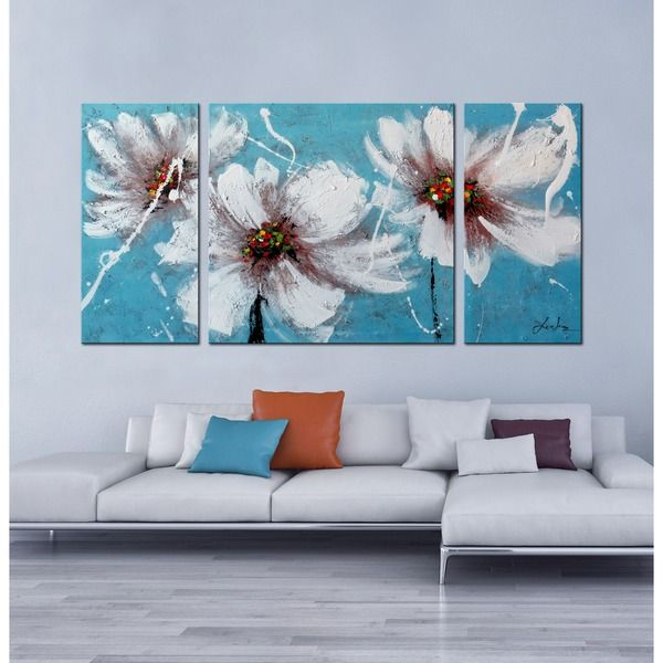 Hand-painted 'Heaven Blue' 3-piece Gallery-wrapped Canvas Art Set - Overstock™ Shopping - Top Rated Otis Designs Canvas