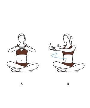(A) Sit cross-legged and stretch your arms out in front of you, with your fingertips touching. Breathe in. (B) With your hips square and abs tight, breathe out as you slowly rotate your upper body about 45 degrees to the right. Return to the center and repeat on your left side. Complete 10 reps